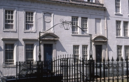 Overthrow lampholder opposite 15 & 16, Beauford Square, Bath 1970