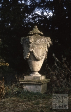 Urn in garden, Westfield House, Bloomfield Road, Bath 1971