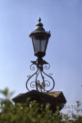 Lamp on gate pier, Bathwick Terrace, Bathwick Hill, Bath 1974