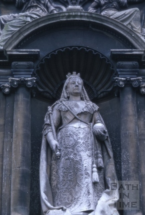 Statue of Queen Victoria on the side of the Victoria Art Gallery, Bridge Street, Bath 1966