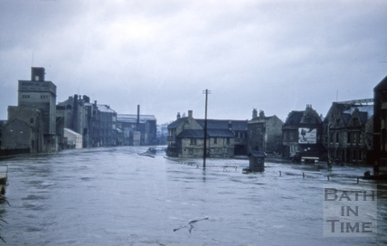 Floods at Broad Quay from Old Bridge, Bath 1954