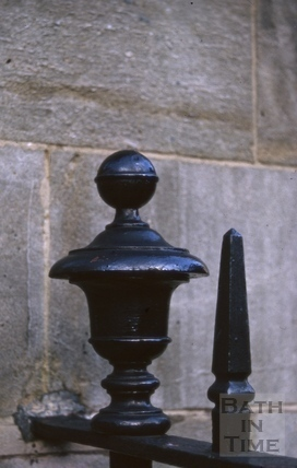 Detail of garden railings, Chapel Court, Bath 1981