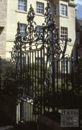 Garden railings and gate, Chapel Court, Bath 1967