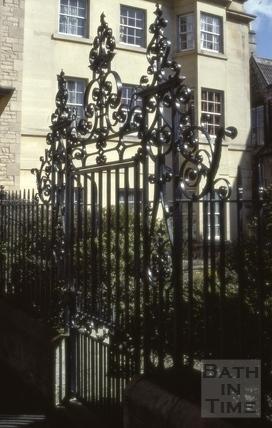 Garden railings and gate, Chapel Court, Bath 1967