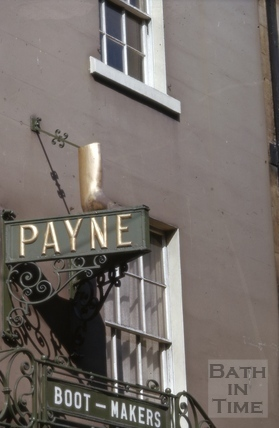 Sign above Payne's shoe shop, 7, Broad Street, Bath 1965