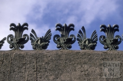Iron decoration on top of a wall, Calton Road, Bath 1970