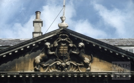 Pediment, King Edward's Grammar School, Broad Street, Bath 1952