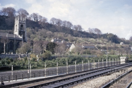 Calton Road from railway station platform, Bath 1970