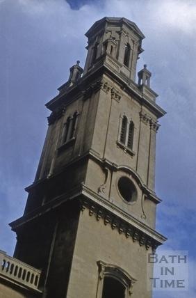 Detail of tower, St. James's Church, Bath 1956