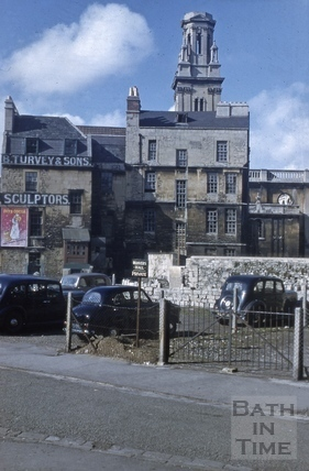 Rear of 3 & 4, St. James's Street (South) and St. James's Church, Bath 1956