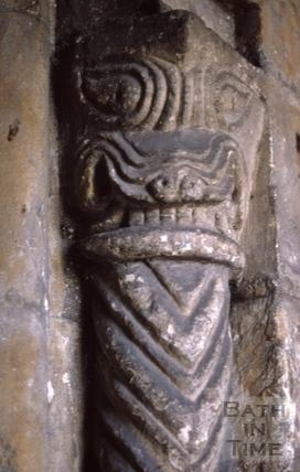 Monster swallowing side column, St. Michael's Church, Twerton 1970