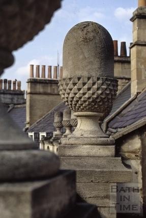 Acorns on roof-line, The Circus, Bath 1972