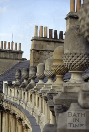 Acorns on roof-line, The Circus, Bath 1972