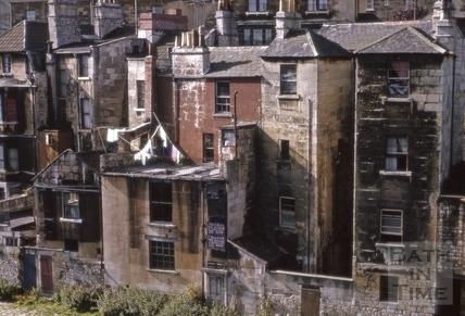 Riverside view of Claverton Street, Widcombe, Bath 1964