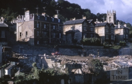 Riverside view of Claverton Street, Widcombe, Bath 1966