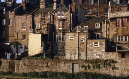 Riverside view of Claverton Street, Widcombe, Bath 1964