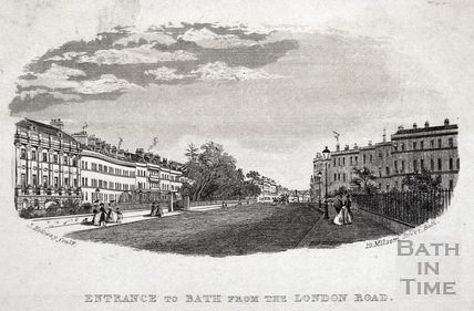 Entrance to Bath from the London Road, Grosvenor Place, Bath c.1845