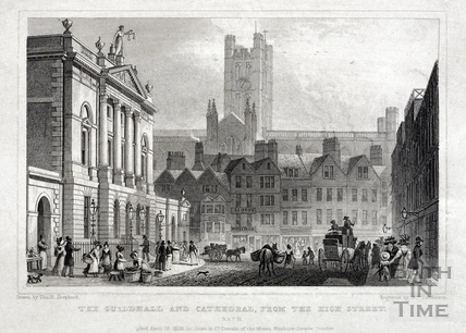 The Guildhall and Abbey from the High Street, bath 1829