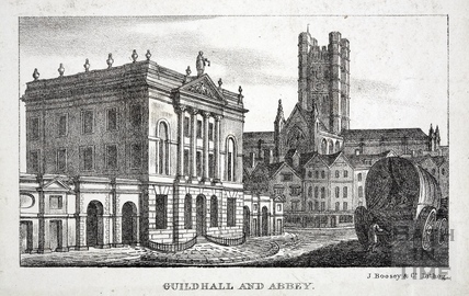 Guildhall and Abbey, Bath 1823