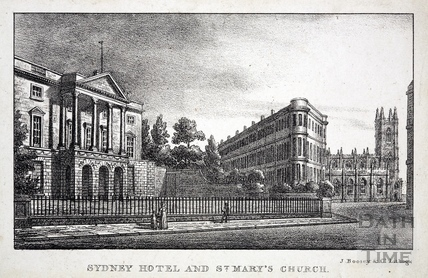 Sydney Hotel and St. Mary's Church, Bathwick, Bath 1823