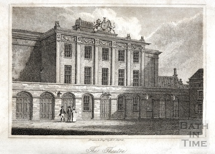 The Theatre Royal from Beauford Square, Bath 1818