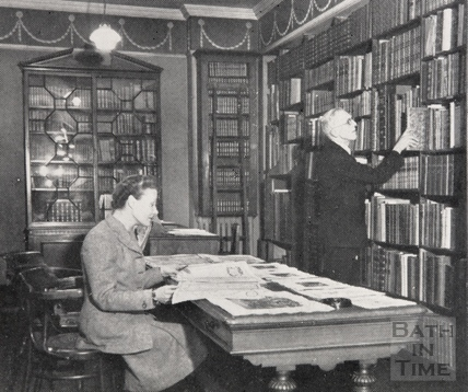 The interior of George Gregory bookshop at 8, Green Street, Bath 1948