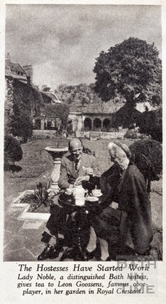 Lady Noble and Leon Goossens, Royal Crescent, Bath 1948