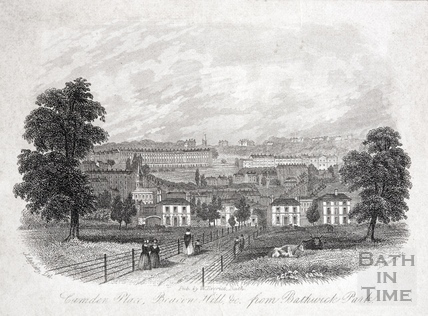 Camden Place (Crescent), Beacon Hill &c. from Bathwick Park, Bath c.1850