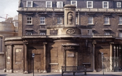 The Cross Bath from Hot Bath Street, Bath 1971