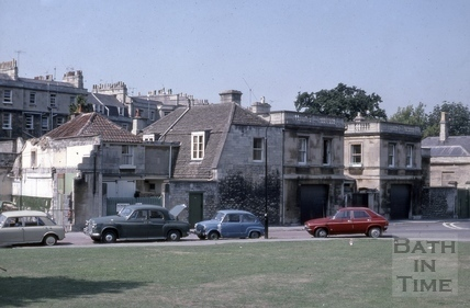 13 & 14, Crescent Lane from the site of former St. Andrew's Church, Bath 1975