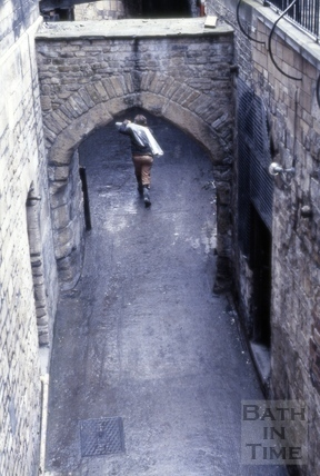 The East Gate and Boat Stall Lane looking from the River Avon, Bath 1982