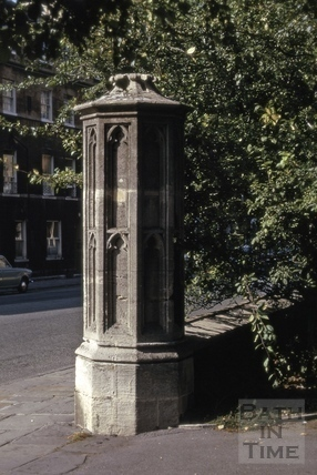 Gatepost of St. Mary's Church, Darlington Street, Bath 1974
