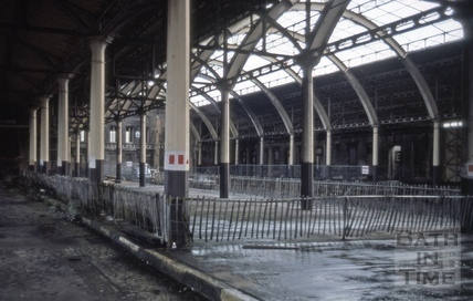 Train shed interior, Green Park Station, Bath 1977