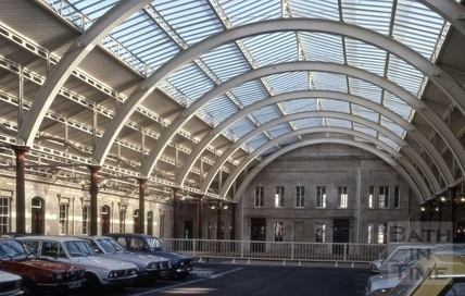 Restored train shed interior, Green Park Station, Bath 1982