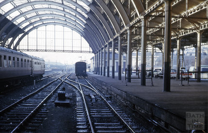 Looking out of Green Park Station train shed, Bath 1964