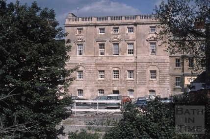 Old prison, Grove Street looking across the River Avon, Bath 1975