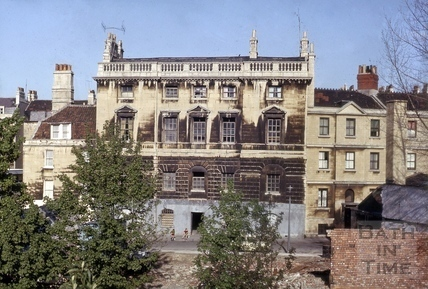 Old prison, Grove Street looking across the River Avon, Bath 1965