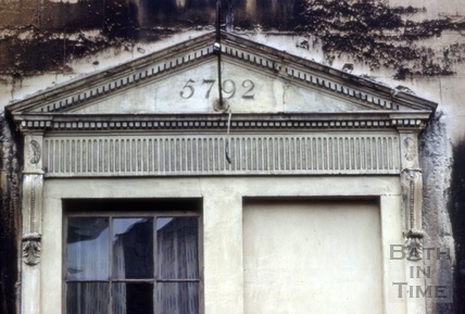 Window with Masonic date, 25, Grove Street, Bath 1967