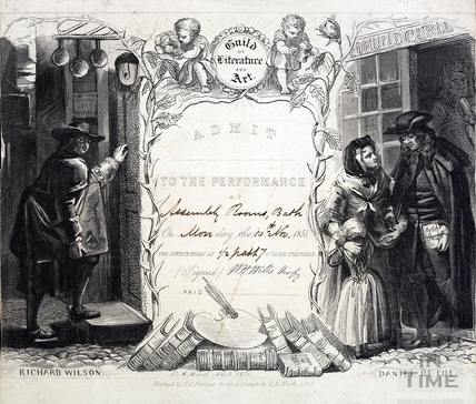 Entry ticket to Dickens performance of Not so Bad as we Seem, Assembly Rooms, Bath 1851