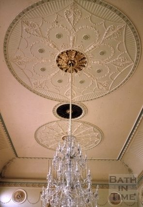 Banqueting room ceiling, Guildhall, High Street, Bath 1963