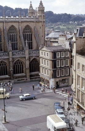 High Street, Cheap Street and Bath Abbey from Guildhall roof, Bath 1970