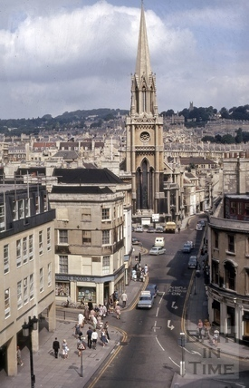 High Street from Guildhall roof, Bath 1970