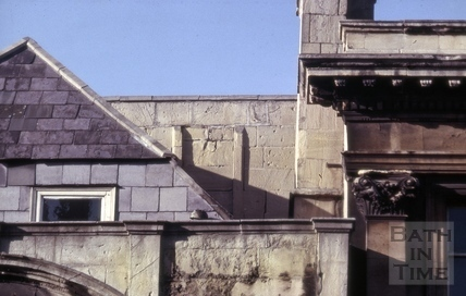 Attic behind roof line, 24, High Street, Bath 1964
