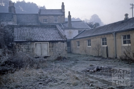 Rear of the Young Fox showing skittle alley, Old Orchard, Bath 1967