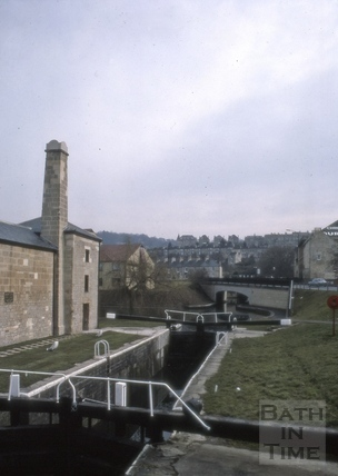 Kennet and Avon Canal lock and road bridge, Widcombe, Bath 1987