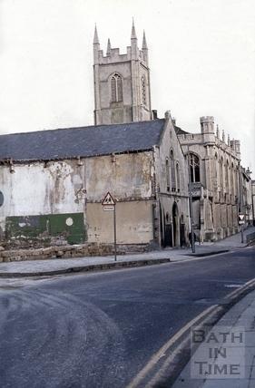 Christ Church Hall and Christ Church, Julian Road, Bath 1974