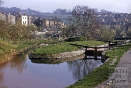 The Kennet and Avon Canal second lock, Widcombe, Bath 1957