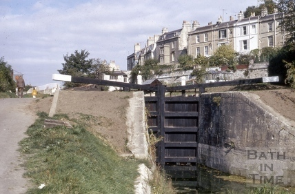 The Kennet and Avon Canal approaching second lock, Widcombe, Bath 1972