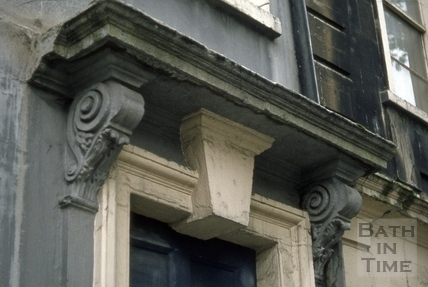 Doorway detail, 6, Kingsmead Square, Bath 1973