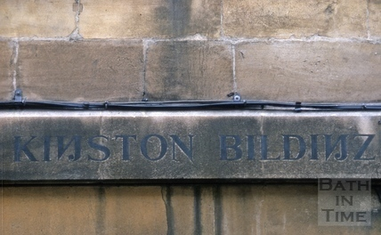 Carved street name, Kingston Buildings, Bath 1966